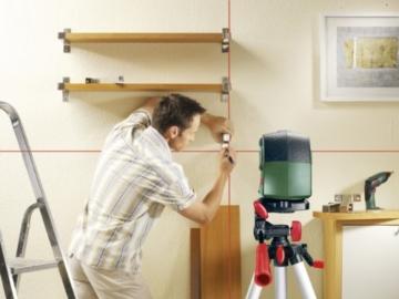 Bosch DIY Kreuzlinien-Laser PCL 10 Set, Batterien, Stativ 1,1 m, Schutztasche (Arbeitsbereich 10 m, +/- 0,5 mm/m Messgenauigkeit) -