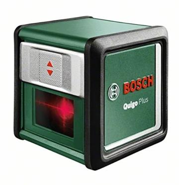 Bosch DIY Kreuzlinien-Laser Quigo Plus, 2 x AAA Batterien, Schnell-Montage Platte, Stativ, Karton (Reichweite 7 m, Neigungsfunktion, Selbstnivellierend) -