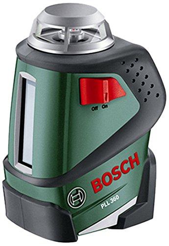 Bosch DIY Linienlaser PLL 360 Set, 4x Batterien AA, Stativhalterung, Schutztasche (Arbeitsbereich 20 m, Messgenauigkeit ± 0,4 mm/m) -