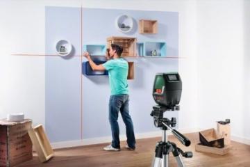 Bosch PLL 2 Kreuzlinienlaser Set + Zielplatte + Schutztasche + Stativ (Arbeitsbereich 10m, Nivelliergenauigkeit ±0,5 mm/m) -