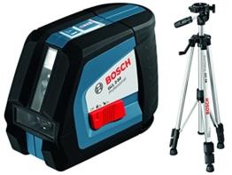 Bosch Professional GLL 2-50, 20 m Arbeitsbereich (ohne Empfänger), Baustativ, Schutztasche, Laserzieltafel, L-BOXX-Einlage, Ausrichtscheibe -
