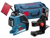 Bosch Professional GLL 3-80 P Kreuz-Linienlaser mit 3 Linien 360° Projektion, 40 m Arbeitsbereich (ohne Empfänger) mit Laserzieltafel, Schutztasche, Halterung, L-Boxx -
