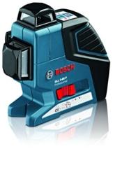 Bosch Professional GLL 3-80 P Kreuz-Linienlaser (mit 3 Linien 360° Projektion, 80 m Arbeitsbereich mit enthaltenem Empfänger LR 2, Halterung, Schutztasche, Laserzieltafel in L-BOXX) -