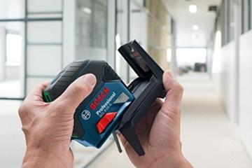 Bosch Professional Kreuz-Linienlaser GCL 2-15 G, 15 M Reichweite, grüner Laser (4x Bessere Sichtbarkeit), Anzeige Lotpunkte, RM1 Halterung, Zieltafel, Schutztasche, 1 Stück, 0601066J00 -