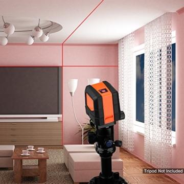 SUAOKI Kreuzlinienlaser, Baulaser Arbeitsbereich 10 m, Kreuz-Linienlaser Neigungsfunktion, Mini CrossLine Laser IP 54 Staub- und Spritzwasserschutz, mit Schutztasche -