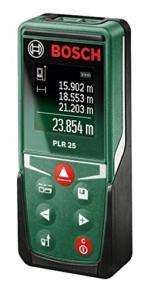 Bosch Laser-Entfernungsmesser PLR 25 + Schutztasche (0,05-25 m Messbereich, +/- 2 mm Messgenauigkeit) -
