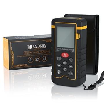 Brandson - Laser Entfernungsmesser | Laser Distanzmessgerät | Messung von Distanz, Flächen, Volumen | bis zu 40m | Laser-Klasse II | Messeinheit in Meter, Zoll, Fuß | LCD-Display mit Hintergrundbeleuchtung -