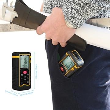 Professional Portabler Laser-Entfernungsmesser, Aomaso Digital-Maßband-60m Laserabstand (Messbereich 0,05 ~ 60m / ± 2,0mm mit LCD-Hintergrundbeleuchtung, Staub- und Spritzwassergeschützt IP54) inkl. Volumen / Fläche / Pythagoras / Kontinuierliche Messungen -