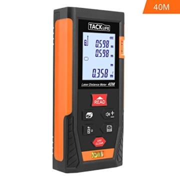 Tacklife HD 40 Klassischer Laser-Entfernungsmesser Distanzmessgerät(Messbreich 0,05~40m/±2mm mit 2 Level Blasen Messeinheit m / in / ft mit Hintergrundbeleuchtung ) Ein Ideales Geschenk für Vatertag -