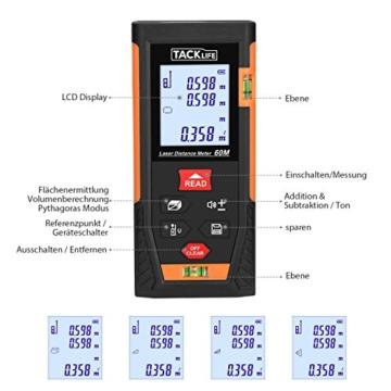 Tacklife HD 60 Klassischer Laser-Entfernungsmesser Distanzmessgerät(Messbreich 0,05~60m/±2mm mit 2 Level Blasen Messeinheit m / in / ft mit Hintergrundbeleuchtung ) Ein Ideales Geschenk für Vatertag -