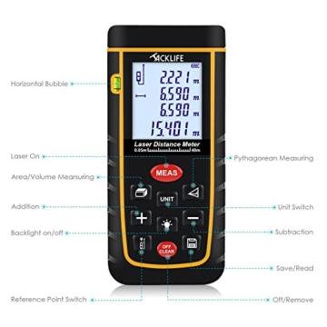 Tacklife Professional A-LDM01 40 Laser-Entfernungsmesser Distanzmessgerät (Messbreich 0,05~40m/±2mm mit LCD Hintergrundbeleuchtung, Staub- und Spritzwasserschutz IP 54) Ein Ideales Geschenk für Vatertag -