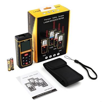 Tacklife Professional A-LDM02 60 Laser Entfernungsmesser Distanzmessgerät (Messbreich 0,05~60m/±2mm mit LCD Hintergrundbeleuchtung, Staub- und Spritzwasserschutz IP 54) Ein Ideales Geschenk für Vatertag -